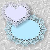 Floral white  background  and  labels heart and oval with an lace border   Stock Images