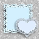 Floral white  background  and  labels heart and square with an lace border on the edge on gray backdrop for greeting card, can be Stock Photography