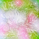 Floral white doodle ornament Royalty Free Stock Photo