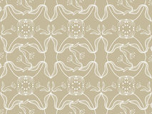 Floral white pattern on taupe Stock Photos