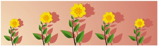Floral wide panoramic floral blossoms vector illustration can be used as wall painting vector illustration
