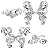 Floral wings. Set of a beautiful butterfly floral art wings in vector Royalty Free Stock Image