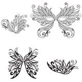 Floral wings. Set of a beautiful butterfly floral art wings in vector Royalty Free Stock Images