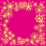 Floral winter frame with snowflakes Stock Image