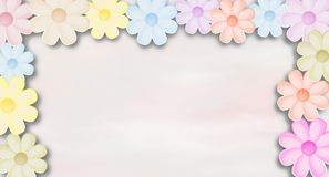 Floral wish background with colored flowers and place for text Stock Photo