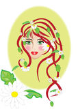 Floral woman. Abstract woman covered with spring flowers royalty free illustration
