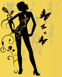 Floral woman. Vector illustration of floral elements and a woman Stock Images