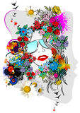 Floral woman silhouette Royalty Free Stock Photography