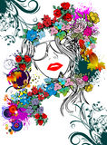 Floral woman silhouette Stock Images