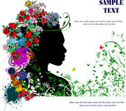 Floral woman silhouette Stock Image