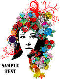 Floral woman silhouette Royalty Free Stock Image