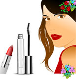 Floral woman silhouette with mascara image Royalty Free Stock Images