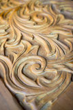 Floral wood carving Stock Photo