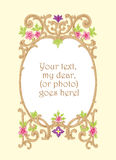 Floral woodcut picture frame vector illustration Stock Photo