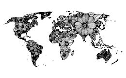 Floral world map, hand drawn, black and white doodle  Royalty Free Stock Image