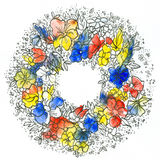 Floral Wreath 1. Acrylic painting and ink drawing on artist paper, created and painted by the photographer - useful for greeting cards, invitations and so on Royalty Free Stock Photography