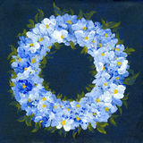 Floral Wreath. Acrylic painting on artist canvas, created and painted by the photographer - useful for greeting cards, invitations and so on Stock Image