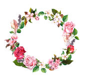 Floral wreath with apple, cherry flowers, sakura blossom, roses flowers and feathers. Watercolor round border. Floral wreath with apple or cherry flowers, sakura stock photos