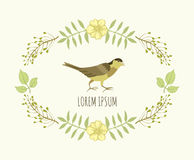 Floral wreath and bird Royalty Free Stock Image