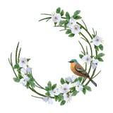 Floral Wreath and Bird Stock Photos