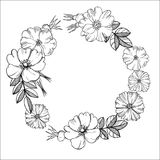 Floral Wreath. Black-and-white Drawing Of Flowers.Vector Illu Stock Image