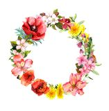 Floral wreath with blooming flowers, field grass. Watercolor round border. Floral wreath with blooming flowers and field grass. Watercolor round border Stock Photography
