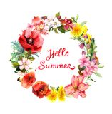 Floral wreath with blooming flowers, field grass. Watercolor round border with lettering quote Hello summer vector illustration