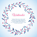 Floral wreath of blue leaves and pink berries Stock Images