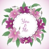 Floral wreath with Clematis Flowers. Stock Illustration