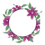 Floral wreath with Clematis Flowers. Royalty Free Illustration