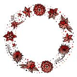 Floral wreath. Decorative round frame with hand drawn flowers Royalty Free Stock Photography