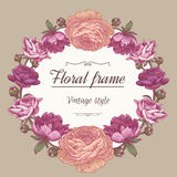 Floral wreath of different flowers in vintage style. Stock Photo