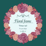 Floral wreath of different flowers in vintage style. Stock Image