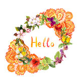 Floral wreath - eastern ornate design. Flowers, butterflies. Ditsy watercolor Stock Images