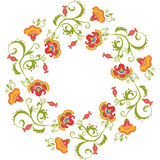 Floral wreath. Flower border frame indian theme stock illustration