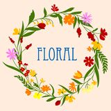 Floral wreath with flowers and herbal foliage Stock Image