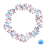 Floral wreath frame with cute flowers and leaves for interior design. Watercolor vector Stock Photo