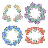 Floral wreath frame with flowers and leaves, vector illustration.  Royalty Free Stock Image