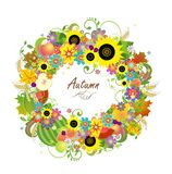 Floral wreath with fruits, wheat and sunflowers Stock Images