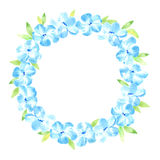 Floral wreath.Garland with blue flower and leaves. Stock Image