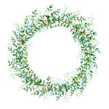 Floral wreath.Garland with Lily of the valley and eucalyptus branches. Watercolor hand drawn illustration Stock Photos