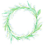 Floral wreath.Garland with Lily of the valley. Watercolor hand drawn illustration.It can be used for greeting cards, posters, wedding cards Stock Photo