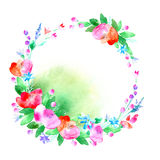 Floral wreath.Garland with poppy flower,bell,berry and herb . Floral wreath.Garland of a poppy flower,bell,berry and herb .Watercolor hand drawn illustration Royalty Free Stock Image