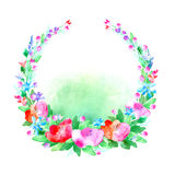 Floral wreath.Garland with poppy flower,bell,berry and herb . Watercolor hand drawn illustration.White background.It can be used for greeting cards, posters Stock Image