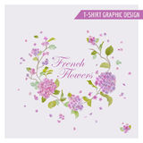 Floral Wreath Graphic Design - for t-shirt, fashion, prints - in Royalty Free Stock Image