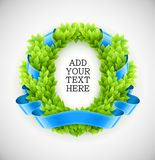Floral wreath of green leaves with blue ribbon Royalty Free Stock Image