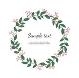 Floral wreath with green leaves. Vector hand draw illustration. Round frame with wildflowers. Design for invitation, wedding, plac stock illustration