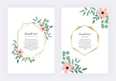 Wedding invitation with polygonal geometric frame, golden lines with leaves eucalyptus. Botanical design template. Floral wreath with green leaves. Vector hand stock illustration