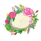 Floral wreath hand painted with oil panda crayons Stock Image