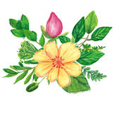 Floral wreath hand painted with oil panda crayons Royalty Free Stock Photo
